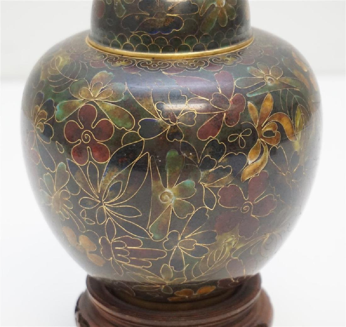 CHINESE CLOISONNE JAR ON STAND - 2