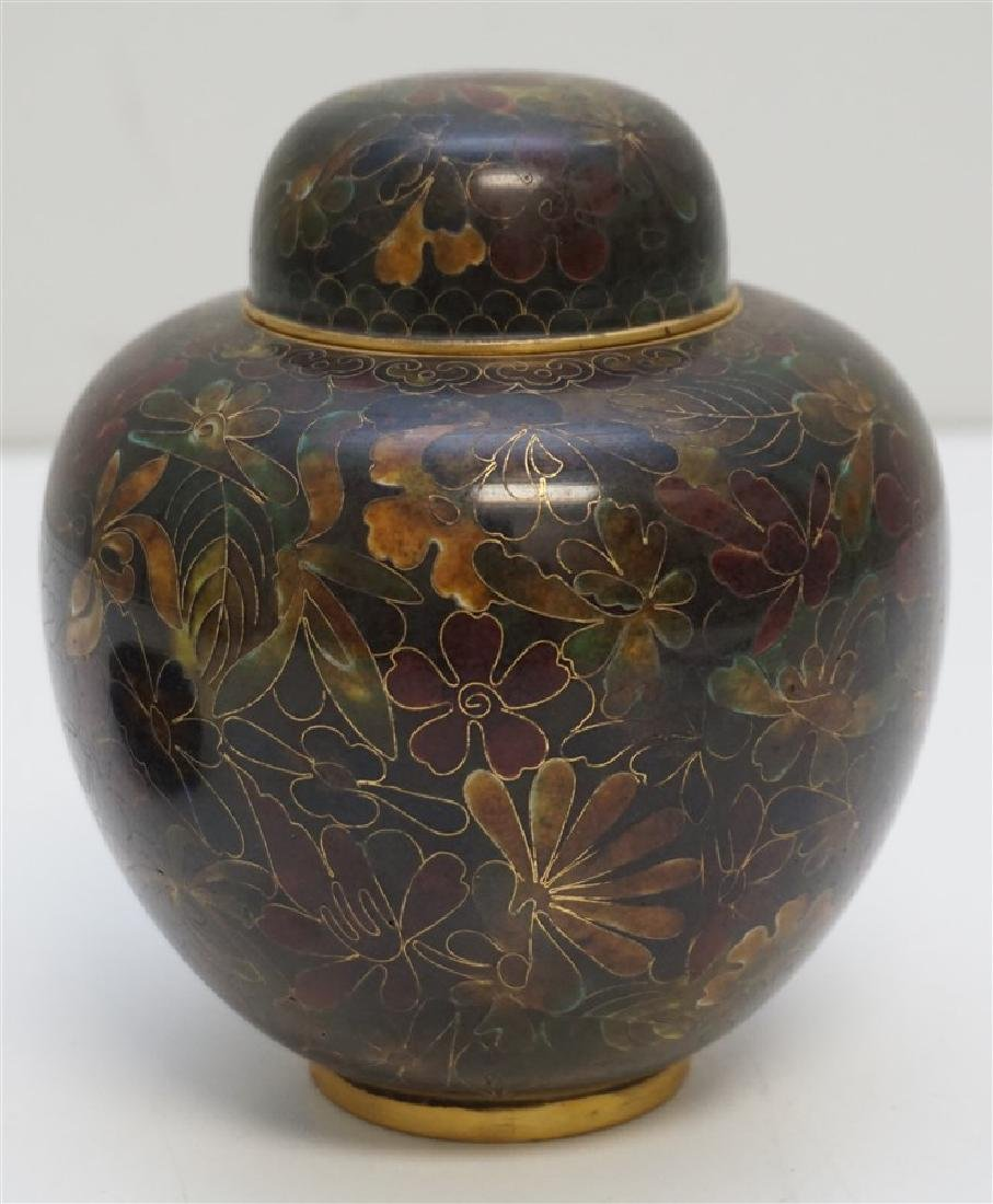CHINESE CLOISONNE JAR ON STAND - 3