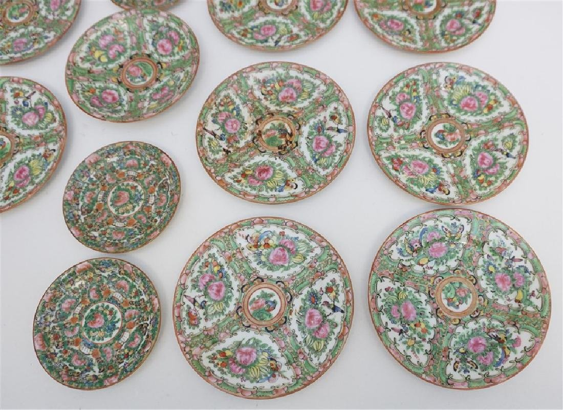 15 PC CHINESE EXPORT ROSE CANTON PLATES - 2