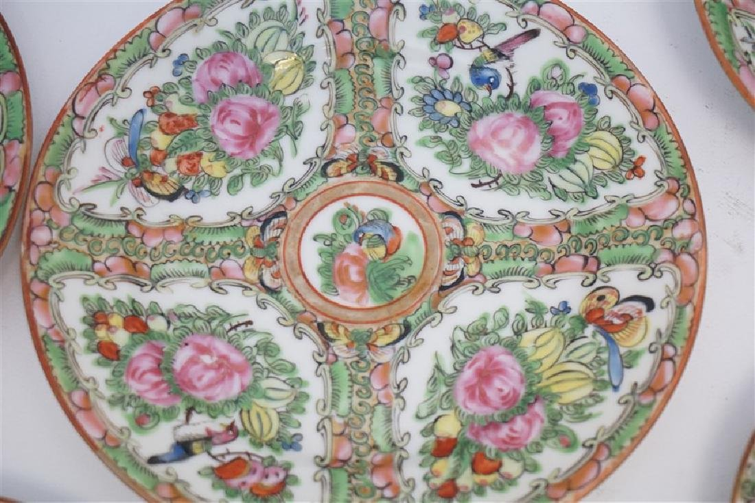 15 PC CHINESE EXPORT ROSE CANTON PLATES - 4