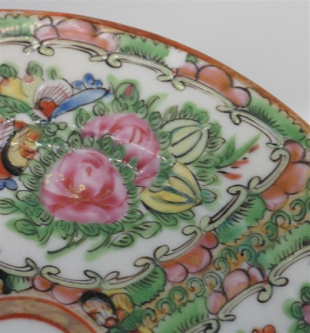 15 PC CHINESE EXPORT ROSE CANTON PLATES - 6
