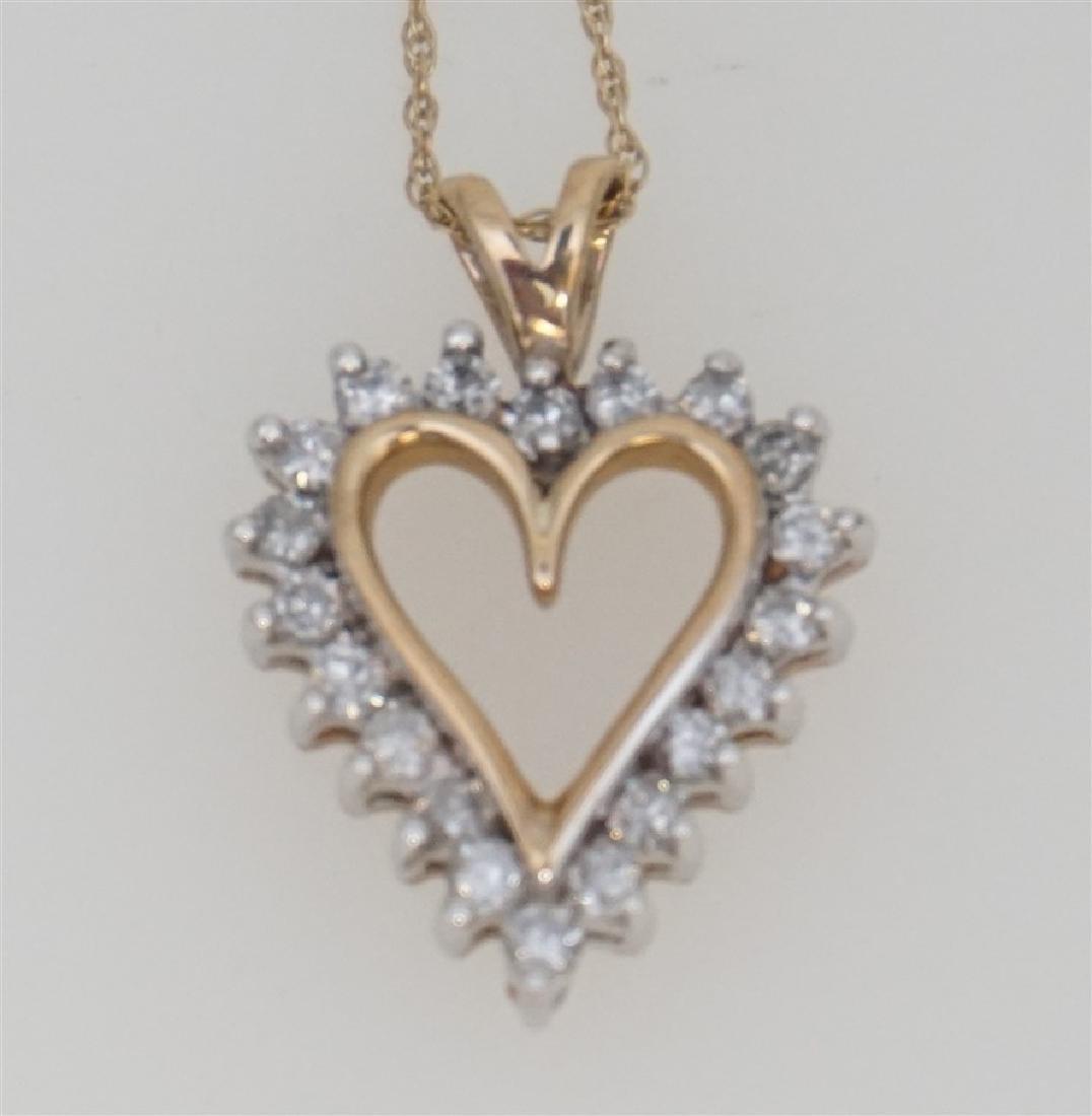10k YELLOW GOLD DIAMOND HEART NECKLACE - 2