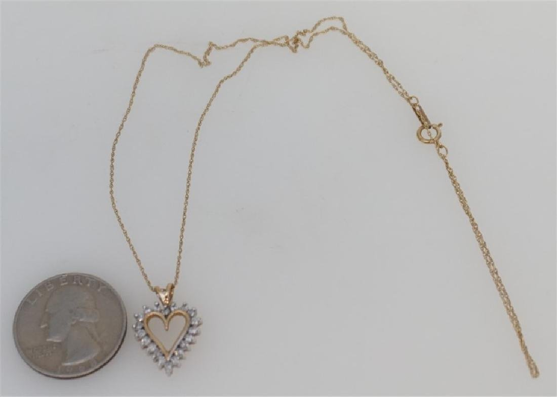 10k YELLOW GOLD DIAMOND HEART NECKLACE - 5