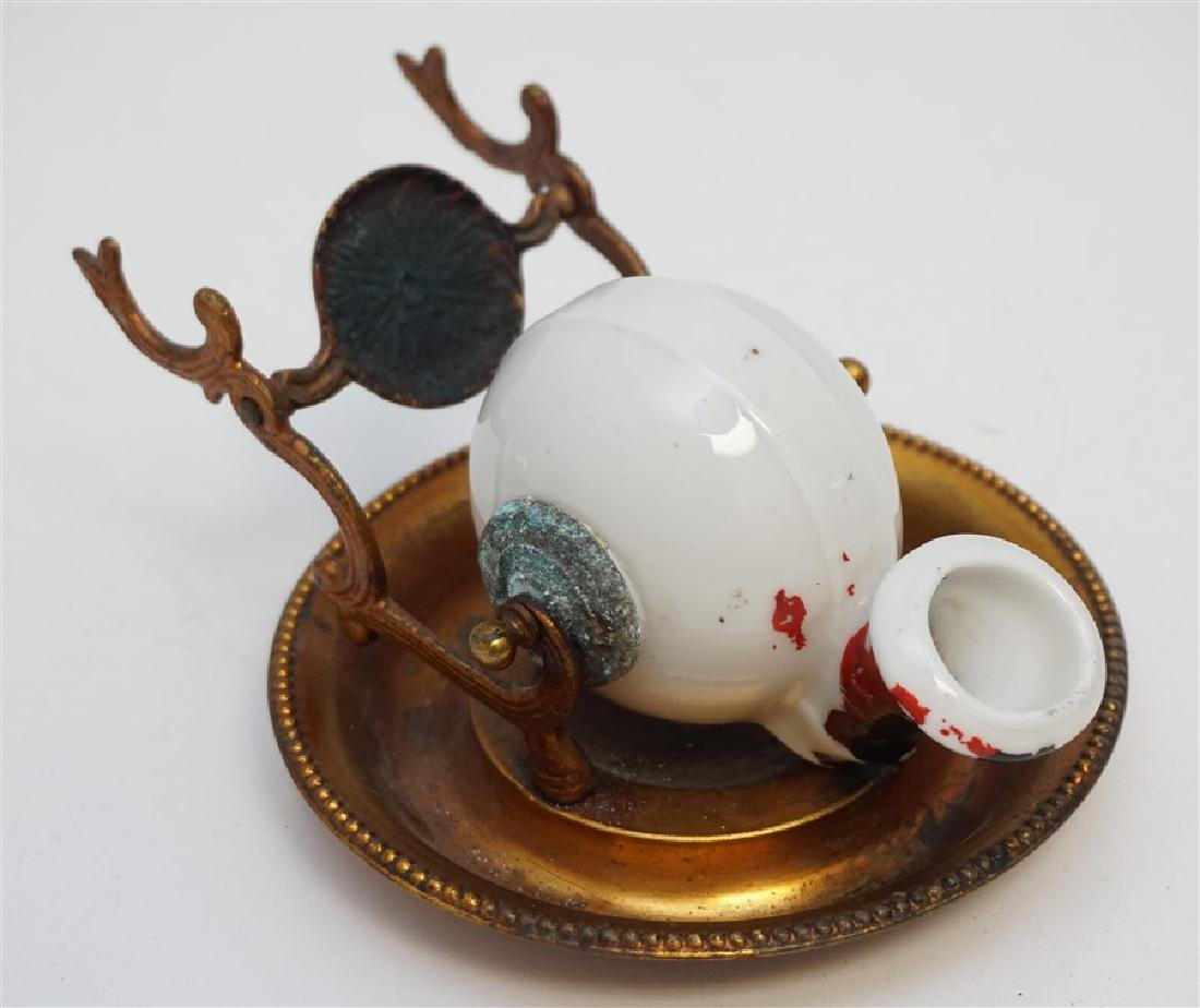 FRENCH ENCRIER PORCELAIN INKWELL - 3
