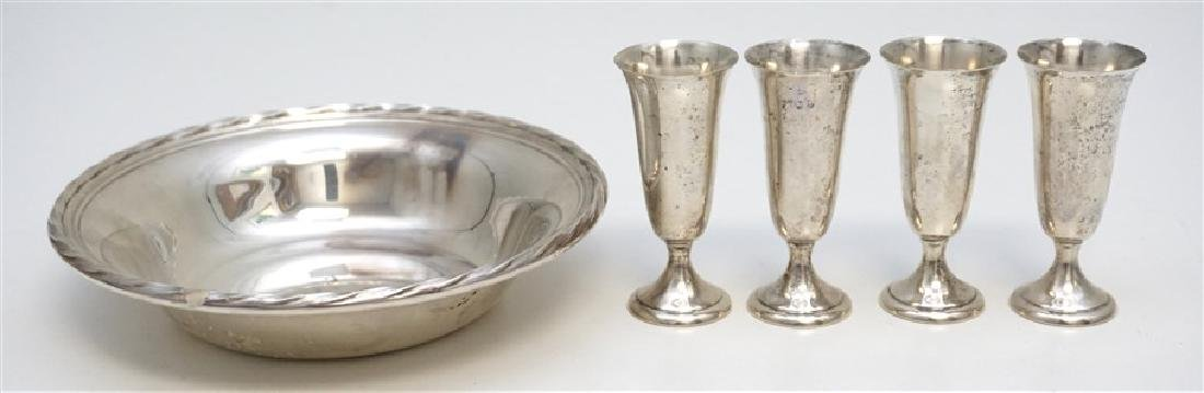 5 PC AMERICAN STERLING BOWL & CORDIALS