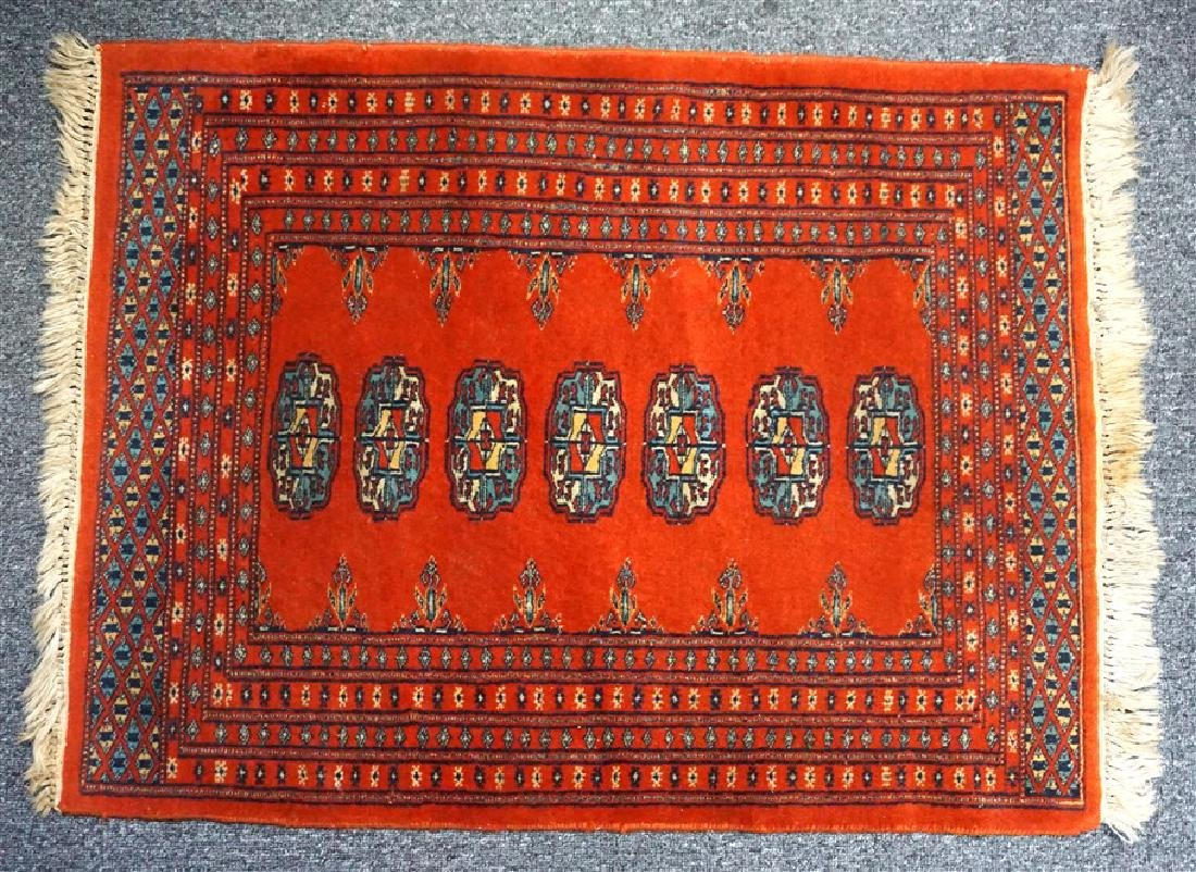 SMALL HAND KNOTTED BOKHARA RUG