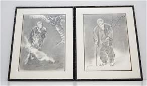 PAIR MID CENTURY JAPANESE YOSHINO CHARCOALS