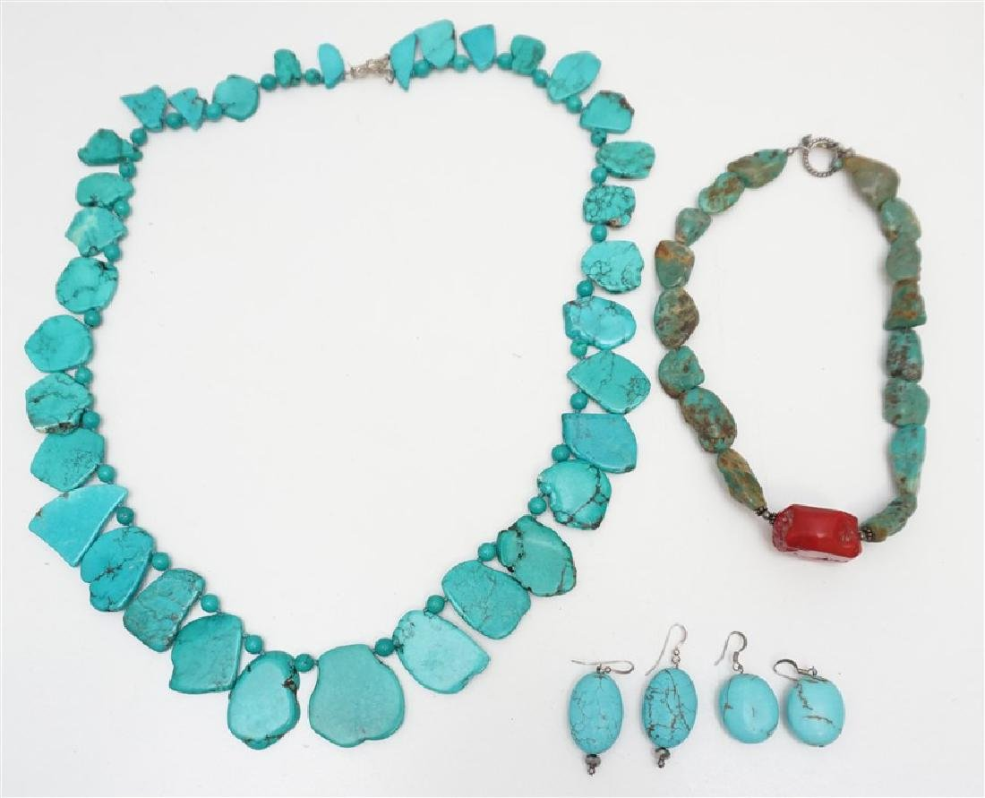 5 PC TURQUOISE HOWLITE FASHION JEWELRY
