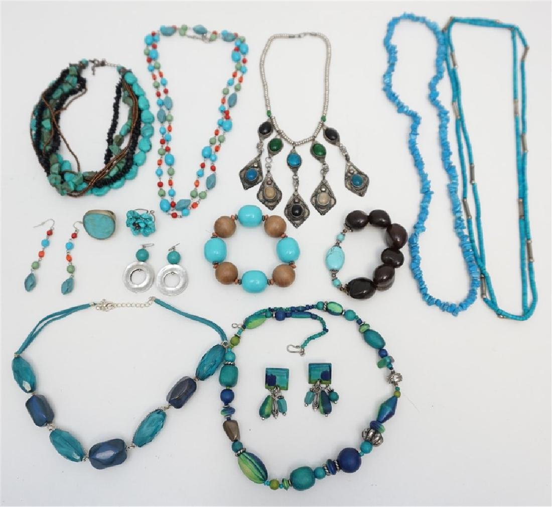 LOT OF 14 TURQUOISE & FASHION JEWELRY