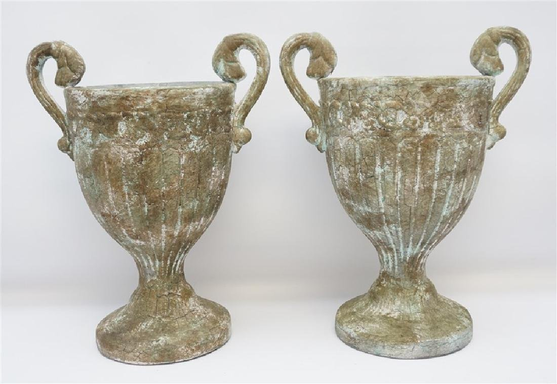 PAIR 20TH C RUSTIC URNS / PLANTERS