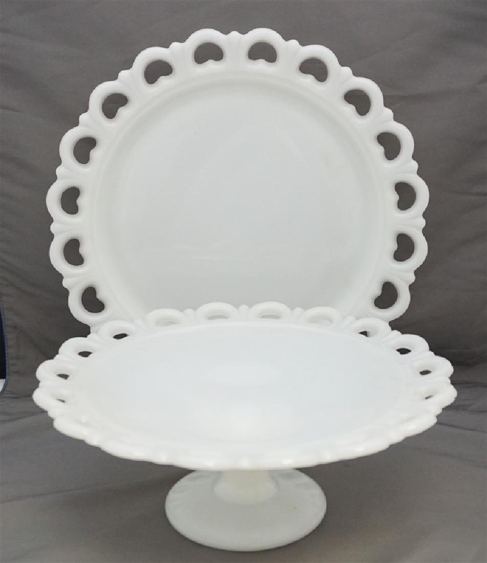 2 ANCHOR HOCKING CAKE PLATE & LARGE cOMPOTE