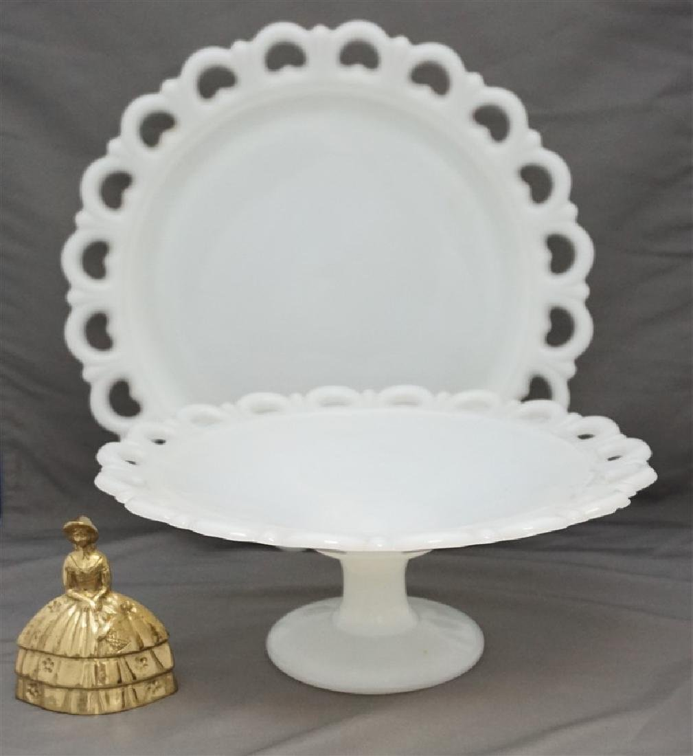 2 ANCHOR HOCKING CAKE PLATE & LARGE cOMPOTE - 5