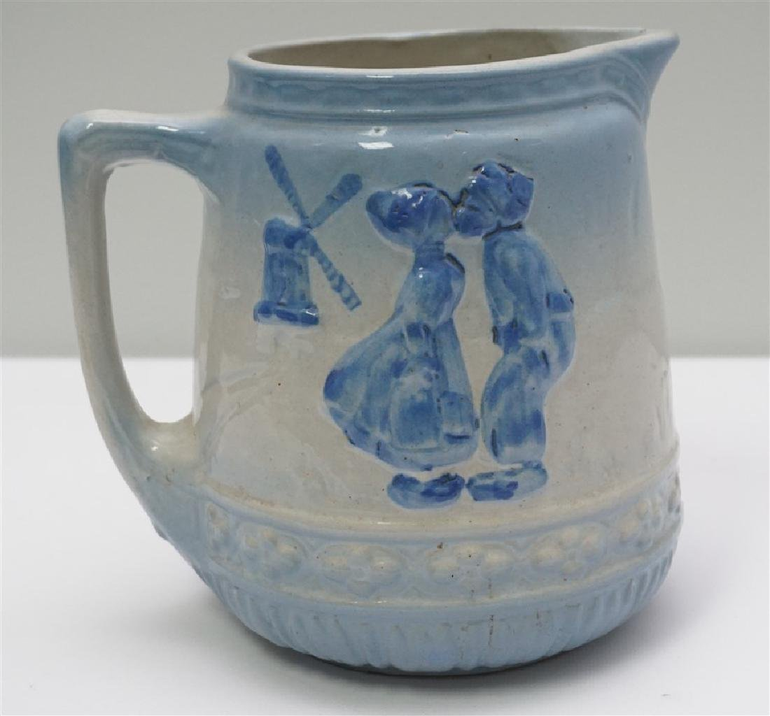 BLUE & WHITE STONEWARE PITCHER