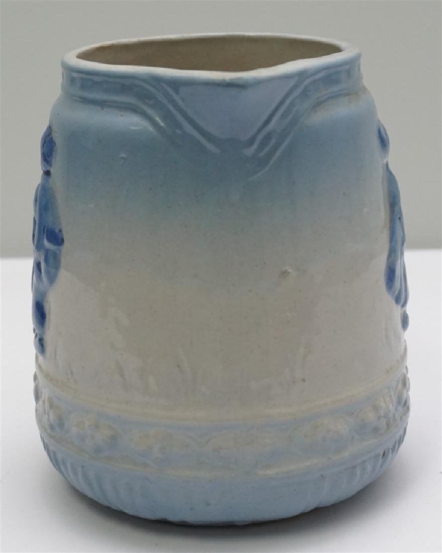 BLUE & WHITE STONEWARE PITCHER - 2