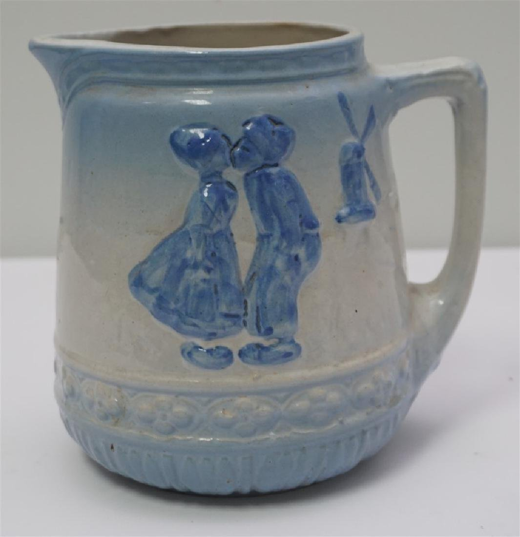 BLUE & WHITE STONEWARE PITCHER - 3