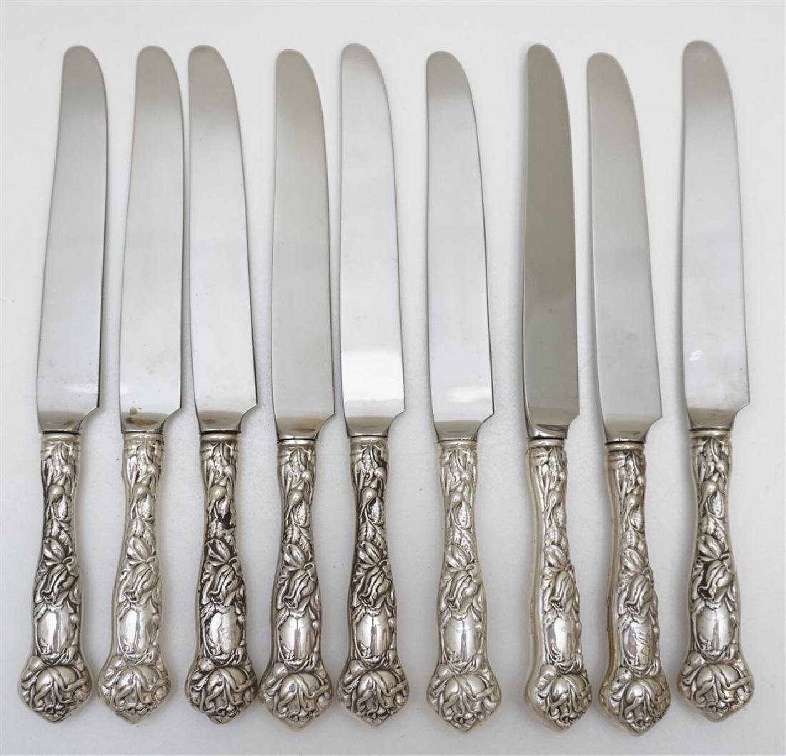 9 STERLING 1903 BRIDAL ROSE KNIVES