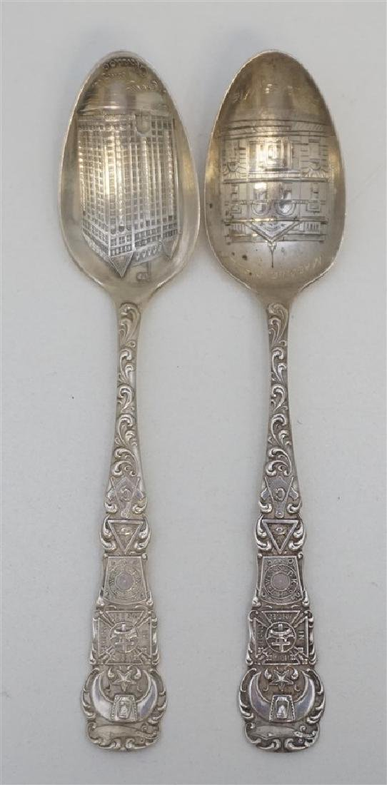 2 STERLING MASONIC TEMPLE SPOONS