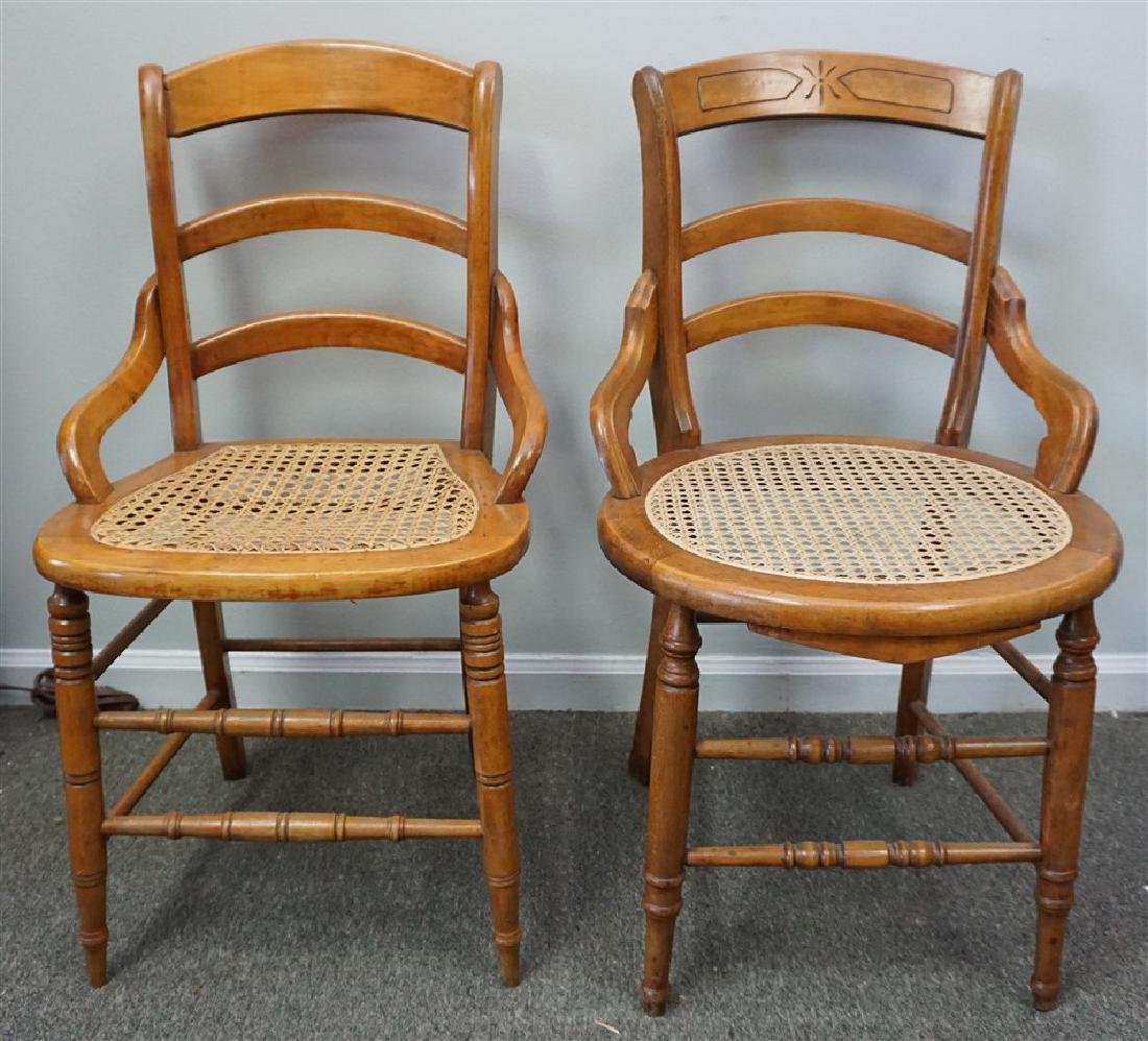 2 VINTAGE OAK CANED SIDE CHAIRS