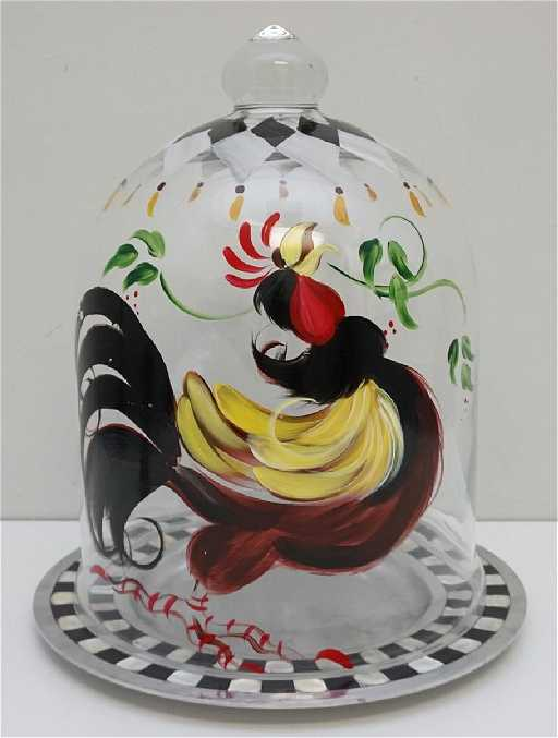 hand painted rooster cake dome