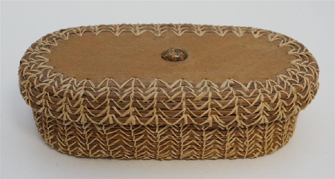 OJIBWE QUILL DECORATED BASKET
