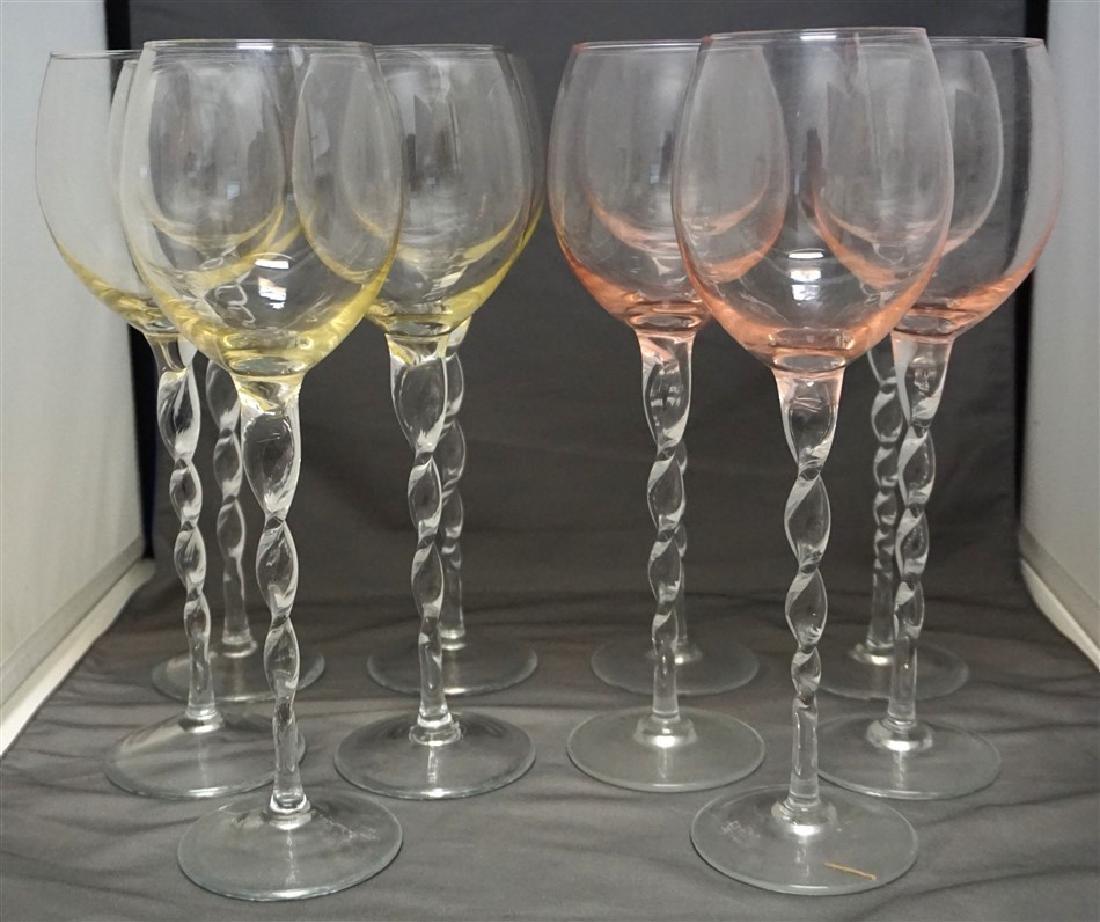 10 TALL BLOWN WINE GLASSES