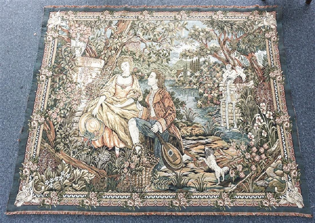 LARGE ROMANTIC FRENCH TAPESTRY
