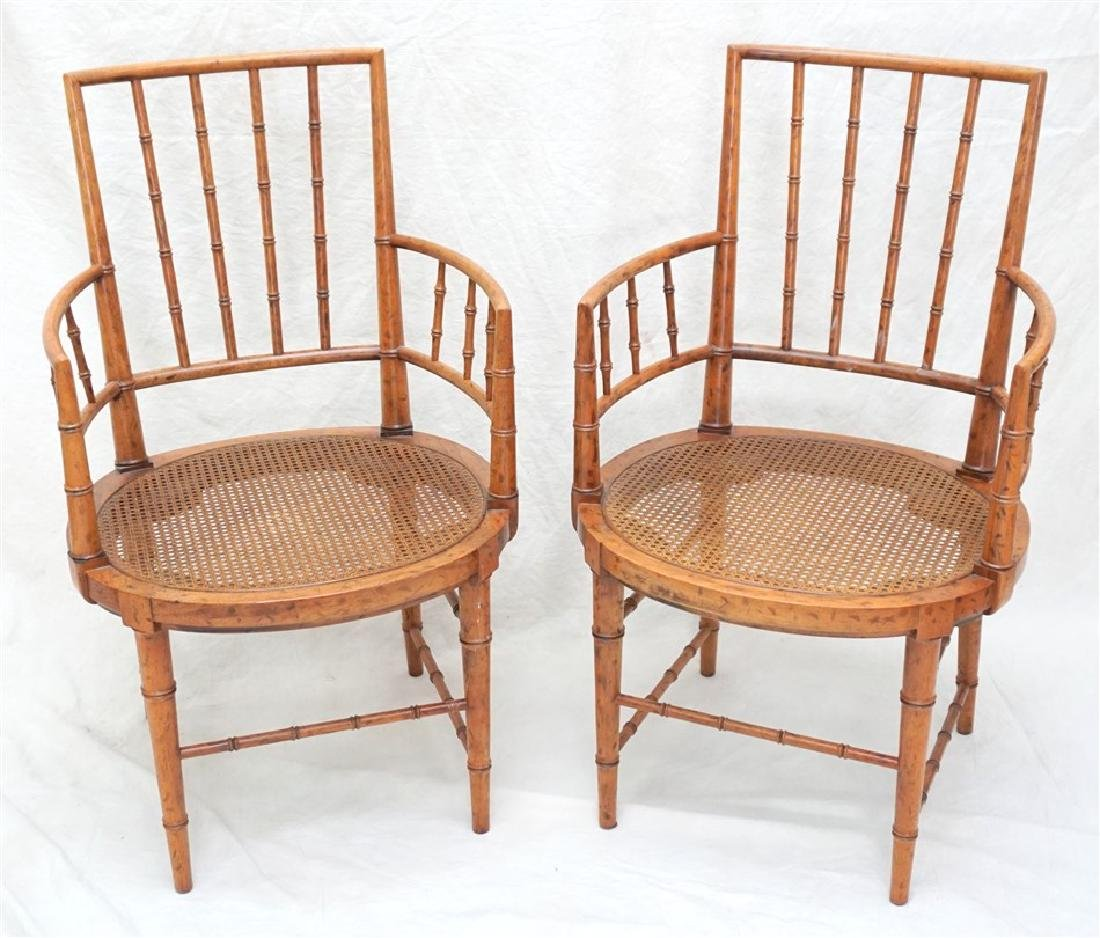 2 VINTAGE FAUX PAINTED BAMBOO CANE CHAIRS