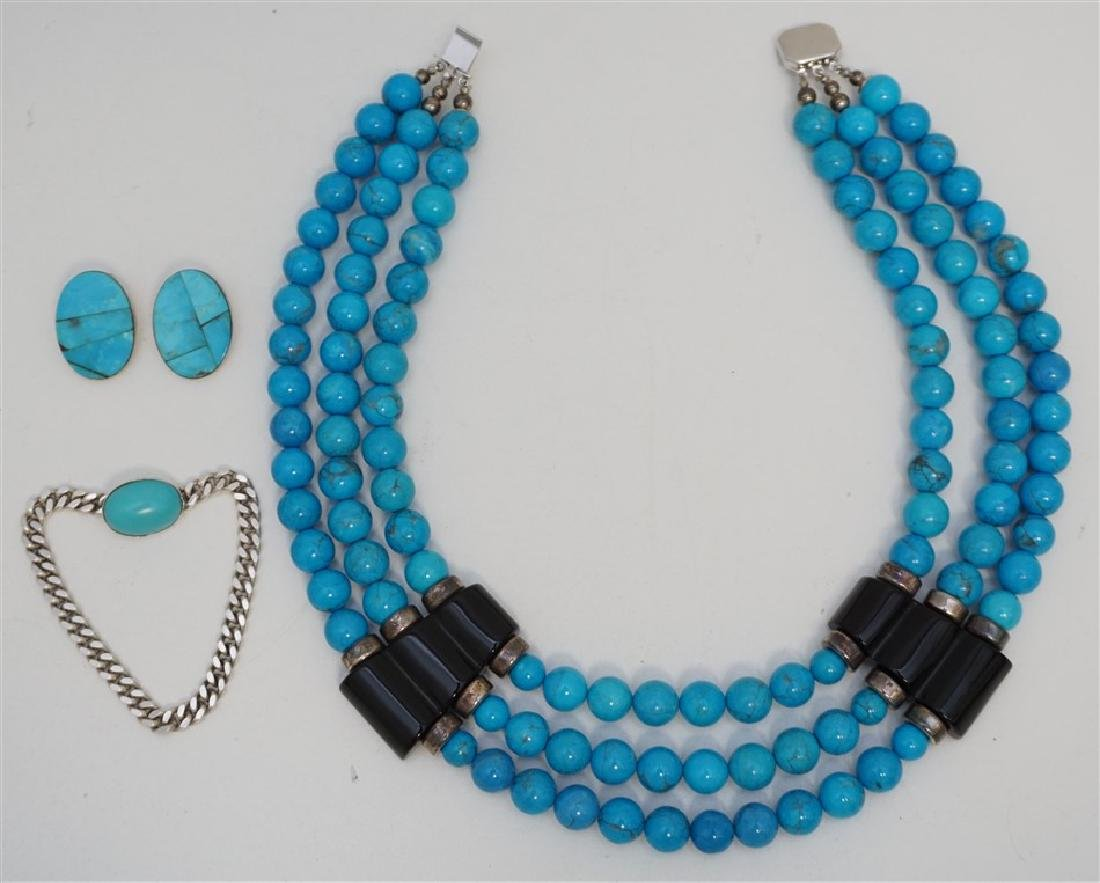 3PC TURQUOISE HOWLITE STERLING JEWELRY