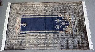 PERSIAN BLUE SILK PRAYER RUG