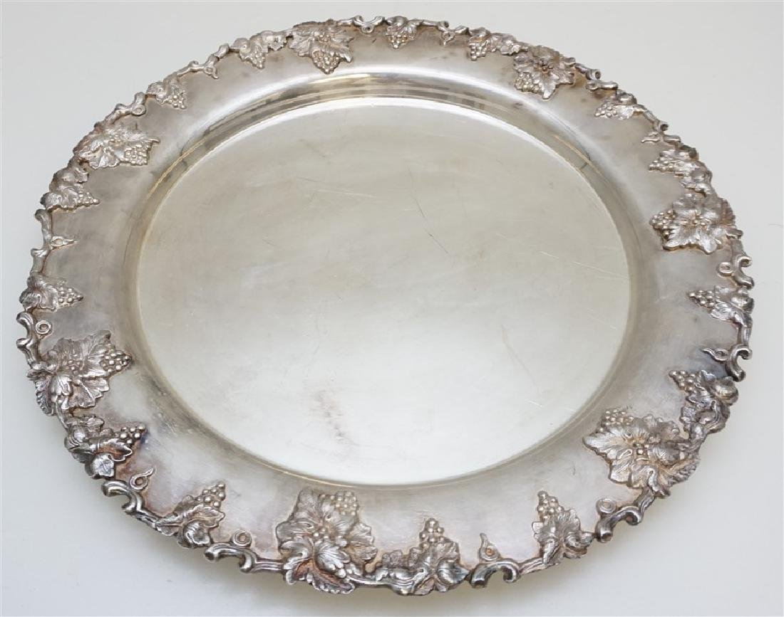 ROUND REPOUSSE SILVER PLATE TRAY