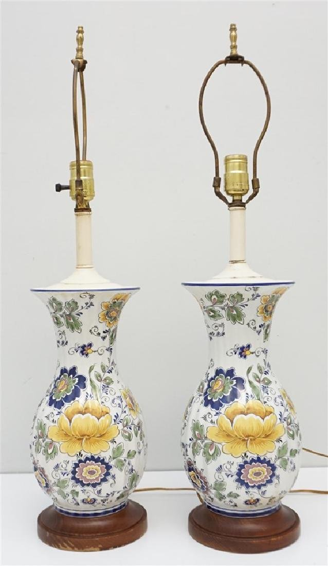 PAIR PORTUGUESE HAND PAINTED LAMPS