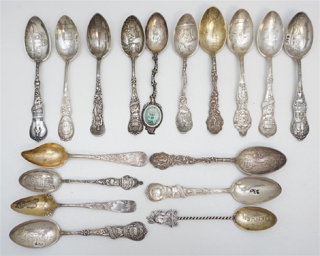 17 ANTIQUE STERLING SOUVENIR SPOONS