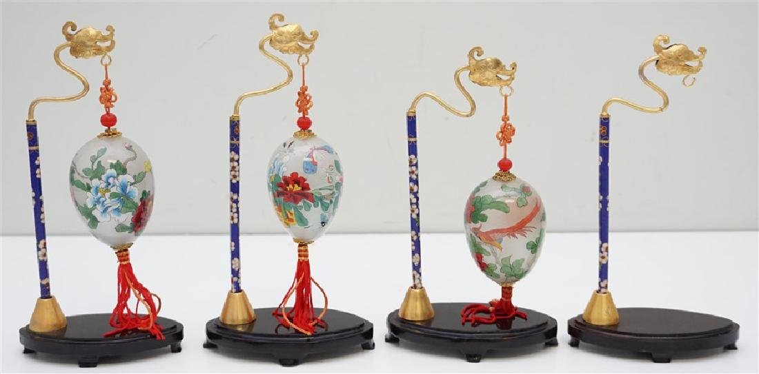 3 PEKING GLASS REVERSE PAINTED EGGS W STANDS