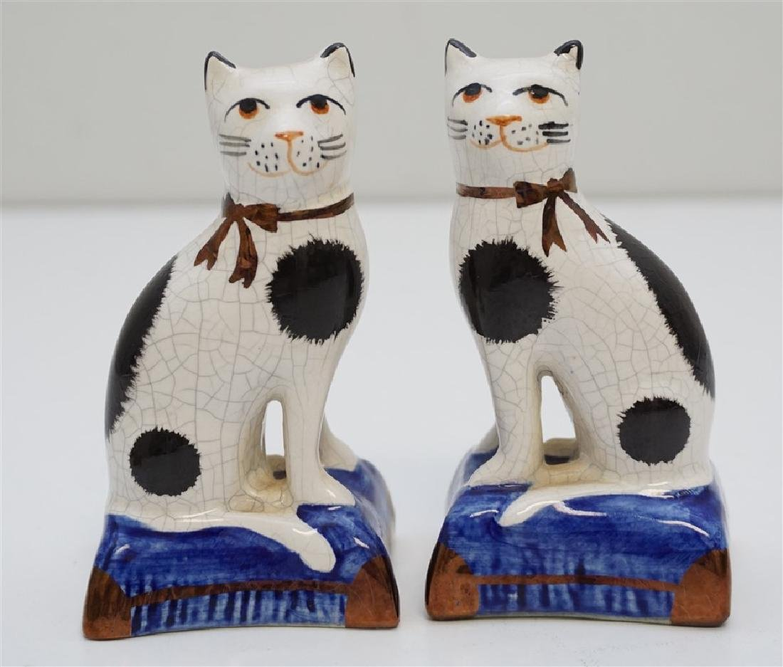 PAIR SEATED STAFFORDSHIRE CATS