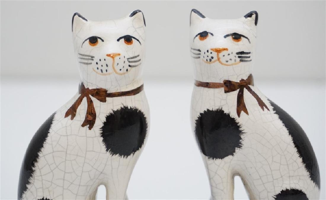 PAIR SEATED STAFFORDSHIRE CATS - 2
