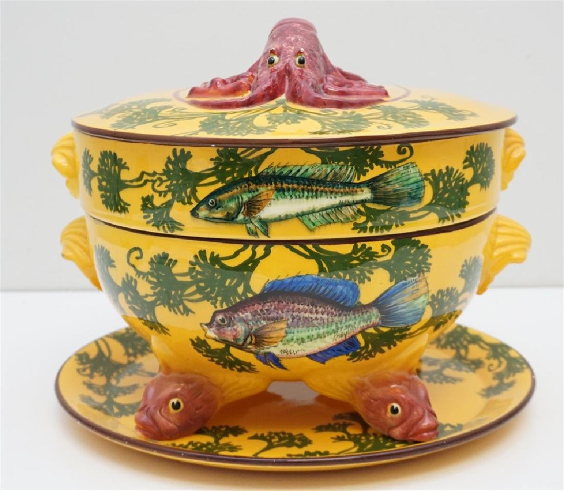 FRENCH FAIENCE BOUILLABAISSE TUREEN