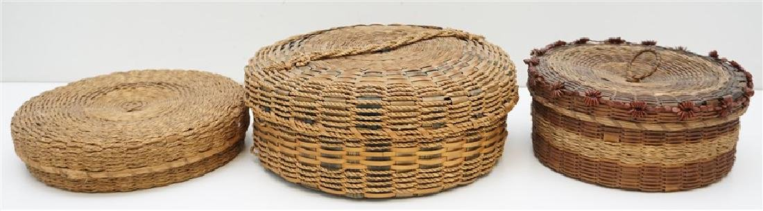 3 MICMAC NATIVE AMERICAN SEWING BASKETS