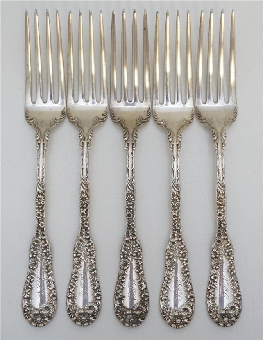5 AMERICAN STERLING 1896 DINNER FORKS