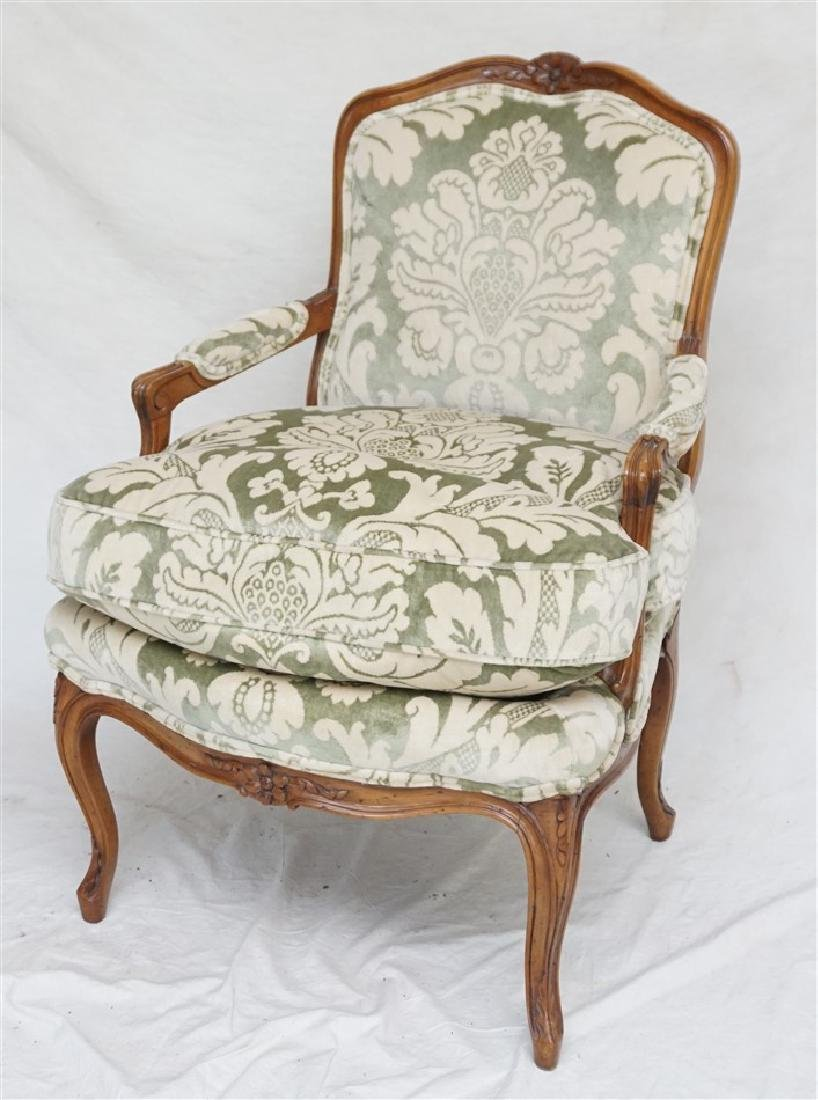LOUIS XV STYLE CARVED WALNUT CHAIR