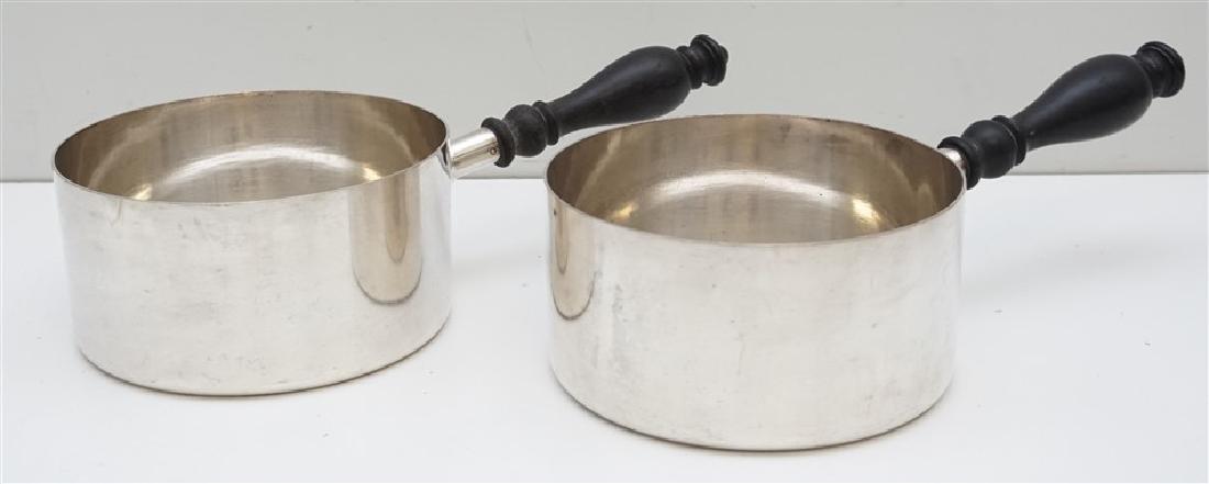 2 GORHAM BLACK STARR FROST EPNS SAUCE PANS