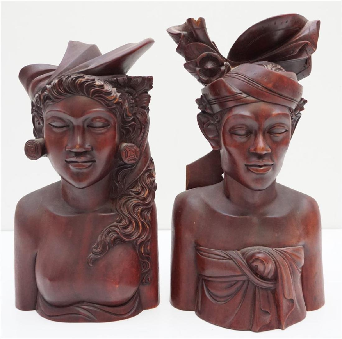 PAIR CARVED WOOD BUSTS BALI