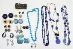 19 PC ESTATE COSTUME JEWELRY BLUE