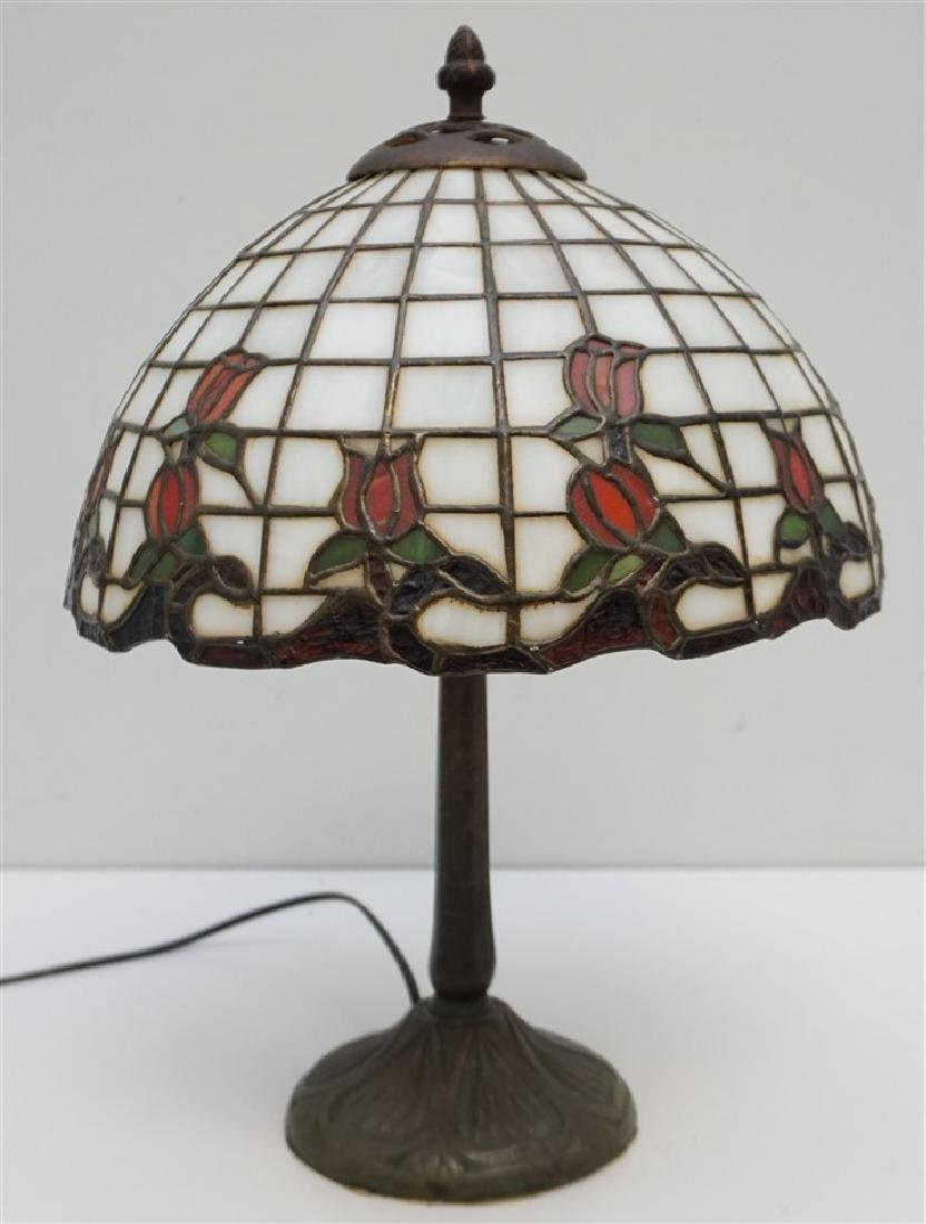 STAINED GLASS BRONZE BASE  LAMP