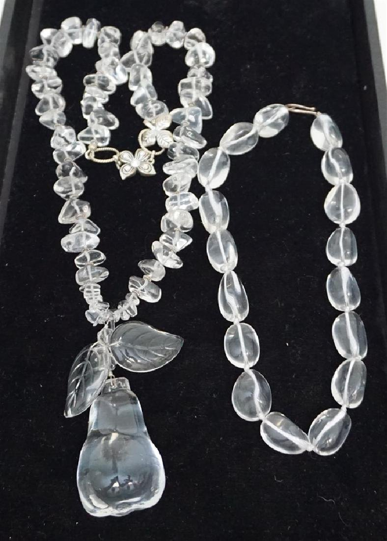 2 pc ESTATE CRYSTAL QUARTZ STATEMENT NECKLACES
