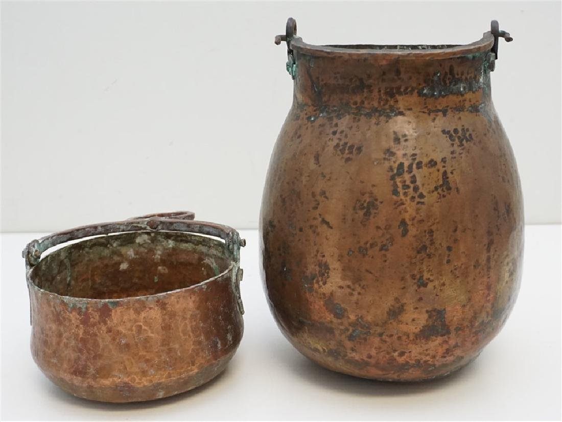 2 HAND HAMMERED COPPER POTS