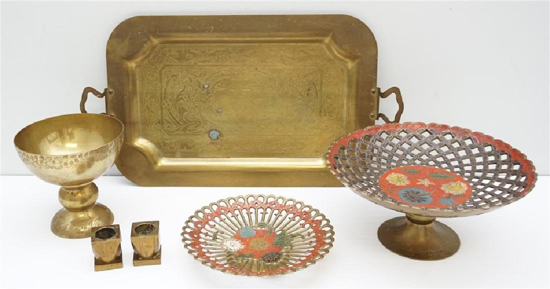 6 pc BRASS GROUP - TRAY - COMPOTE +