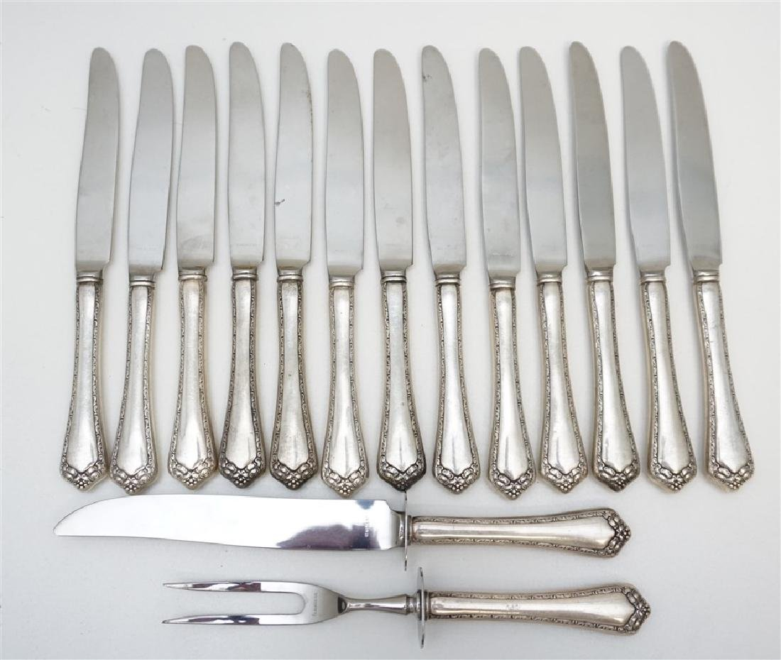 15 pc STERLING KNIVES & CARVING SET