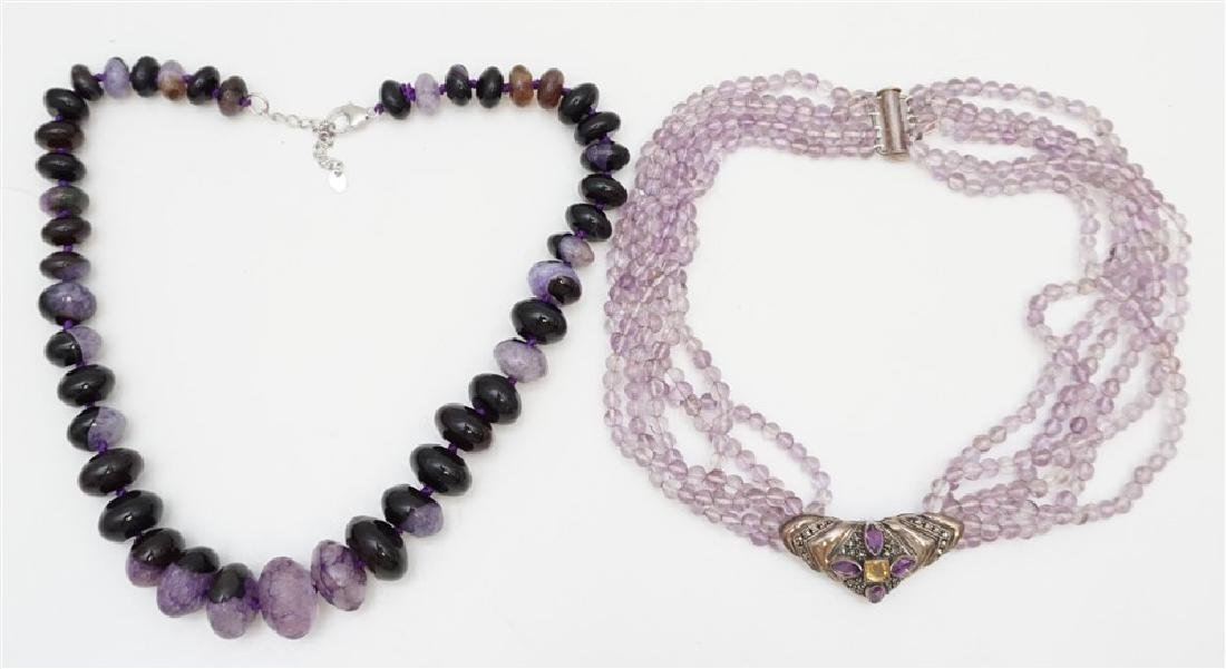 2 LARGE AMETHYST STATEMENT NECKLACES