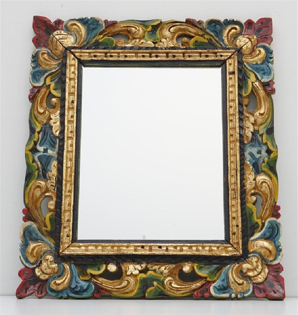 CARVED POLYCHROME PAINTED MIRROR