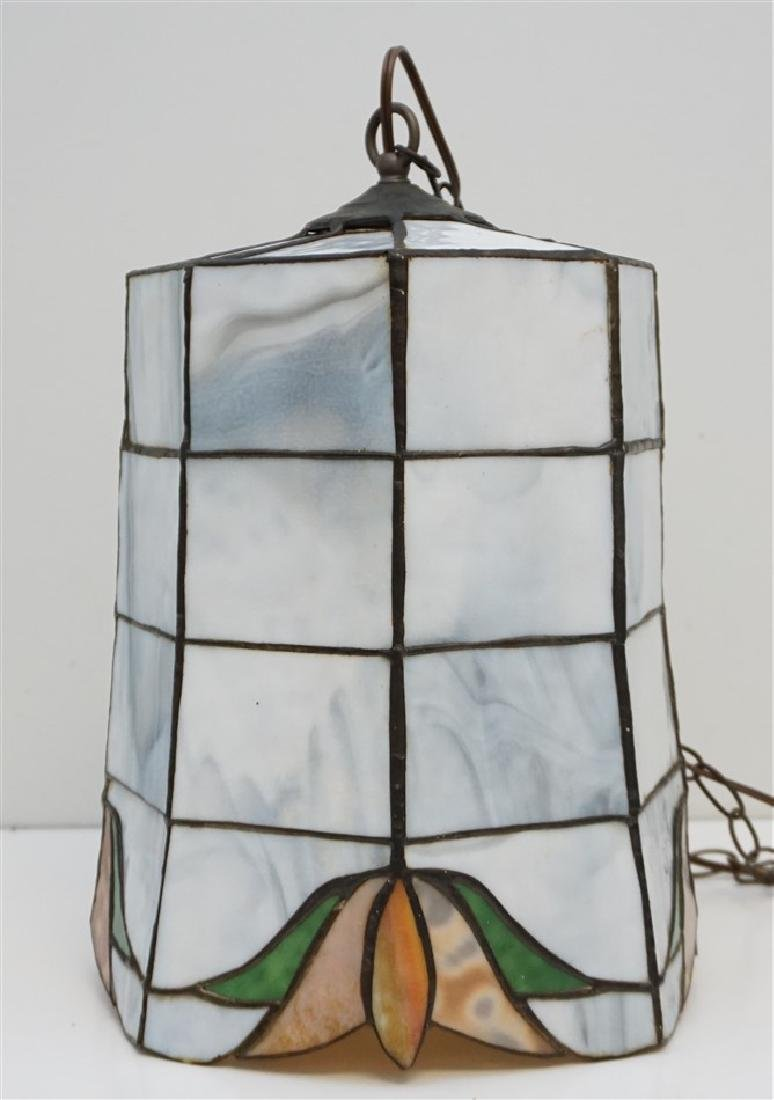 VINTAGE STAINED GLASS PENDANT LIGHT